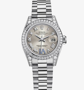 Rolex Lady-Datejust Watch: or blanc 18 ct - M179159 -0094